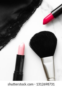 Make-up and cosmetics on marble, flatlay - modern feminine lifestyle, vlog background and styled stock concept. Beauty inspiration in a fashion blog