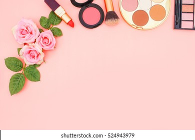 Makeup Cosmetics on Pink Rose Background, Flat Lay Style with Free Text Space, Cosmetics