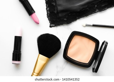 Make-up and cosmetics products on marble, flatlay background - modern feminine lifestyle, beauty blog and fashion inspiration concept