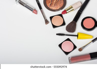 makeup cosmetics set with copy space isolated on white