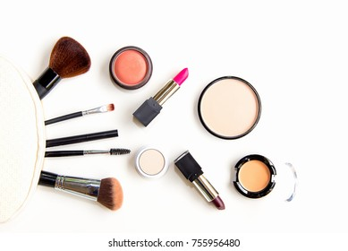 Makeup cosmetics tools background and beauty cosmetics, products and facial cosmetics package lipstick, eye shadow on the white background.  Lifestyle   Fashion Concept