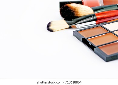 Makeup cosmetics tools and essentials background, copy space