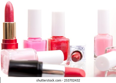 Make-up cosmetics in various shades