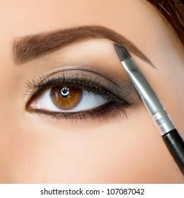 Make-up. Eyebrow Makeup.Brown Eyes