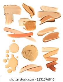 Make-up foundation bb-cream smudge powder creamy white isolated background