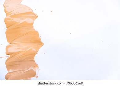 Makeup foundation blur cream isolated background. Top view collage corrective tonal base. Macro, skin tone.  Closeup of flat Makeup. Set of tonal cream