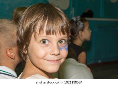 Make-up girl looking at the camera