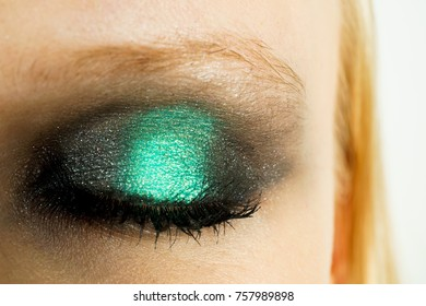 Makeup with green shadows