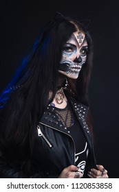 Makeup for Halloween. The mask of Santa Muerte, Mexican folklore