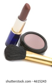 Makeup items on white background