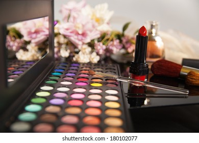 makeup kit lipstick flowers