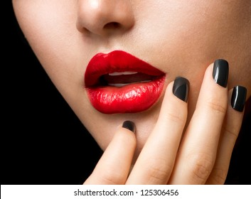 Makeup and Manicure. Black Nails and Red Lips. Sensual Mouth