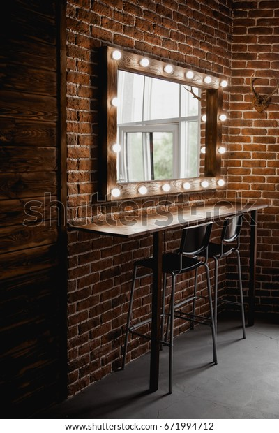 Makeup Mirror Light Bulbs On Brick Stock Photo Edit Now