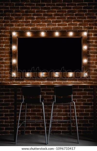 Makeup Mirror Light Bulbs Wooden Frame Stock Photo Edit Now 1096733417