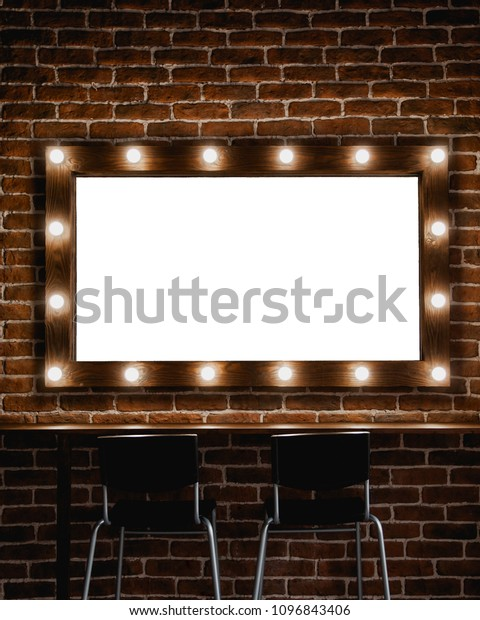Makeup Mirror Light Bulbs Wooden Frame Stock Photo Edit Now 1096843406