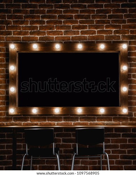 Makeup Mirror Light Bulbs Wooden Frame Stock Photo Edit Now