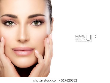Makeup and Nail Art Concept. Beauty model girl with soft pink smoky eye, foundation on a unblemished skin and trendy pink lipstick to match her manicured nails. High fashion portrait isolated on white