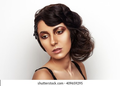 make-up on beautiful face with white background