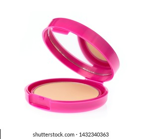 Makeup pink powder isolated on white background