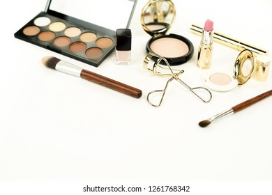 makeup products and accessories on white background.  female fashion desk. Cosmetics, brushes. Copy space