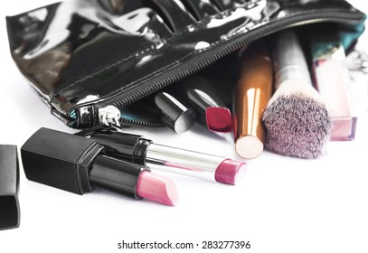 Make-up Products and Beauty Bag Isolated