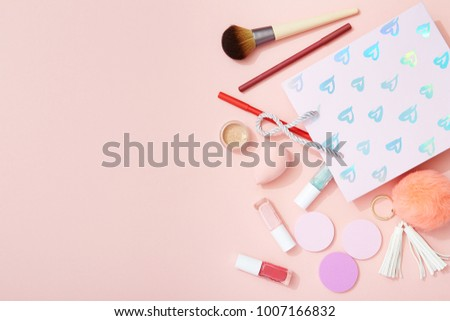 Makeup Products Gift Bag On Pink Stock Photo Edit Now 1007166832