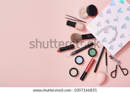 Makeup Products Gift Bag On Pink Stock Photo Edit Now 1007166835