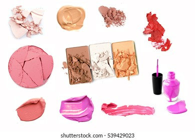 make-up products isolated on white