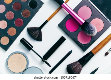Makeup products on white background, set of decorative cosmetic