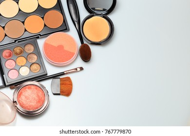 Makeup products  on white background