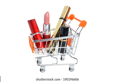 Makeup in pushcart isolated on white background