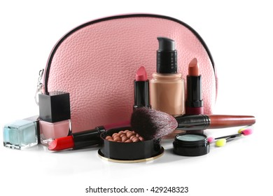 Makeup set with beautician, brush and cosmetics, isolated on white