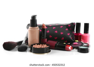 Makeup set with beautician, brushes and cosmetics, isolated on white