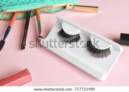 94ac6495b45 Makeup Set False Eyelashes On Color Stock Photo (Edit Now) 757721989 ...