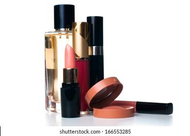 makeup set: lipstick, mascara, blush, lipgloss and ferfume, cosmetics on white background isolated