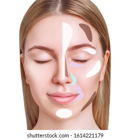 Make-up template with concealer of female face. Over white background.