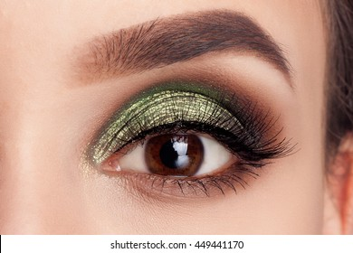 Make-up of woman eye with khaki eyeshadow. Beauty portrait of a girl model with make-up,green eyes. Creative Professional makeup: green eye shadow. open the eyes