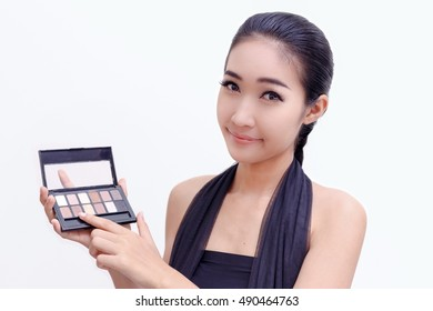 The make-up of women with eyeshadows.