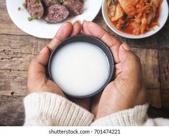Makgeolli rice wine Korean drink