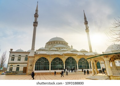 Makhachkala, Dagestan, Russia - March 8, 2018: Grand Mosque in Makhachkala, Yusuf Bei Cami is the main mosque of Republic Dagestan