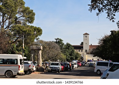 Makhanda, South Africa - July 1, 2019: High street in Grahamstown, South Africa. This town hosts the National Arts Festival annually.