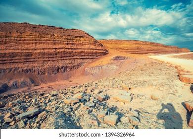 Makhtesh Ramon Crater in National park in Negev desert, Israel