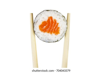 Maki roll with chopsticks isolated on white