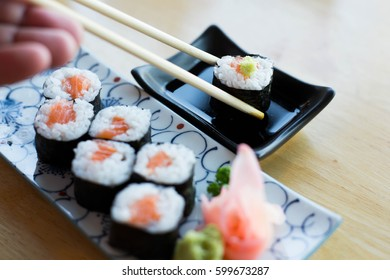 Maki roll with salmon, popular Japanese cuisine
