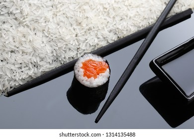 Maki roll sushi with salmon. Sushi menu. Japanese food. copy space.