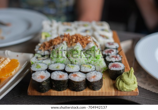 Maki and sushi at the restaurant