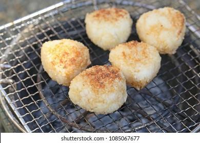 Making baked onigiri.Onigiri is Japanese  traditional food.