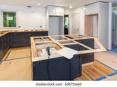 Making balsa wood templates for kitchen countertops - the island and cooktop area