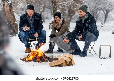 Making a barbecue in winter