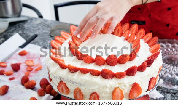 Astonishing Making Birthday Cake Home Strawberry Whipped Stock Photo Edit Now Birthday Cards Printable Nowaargucafe Filternl